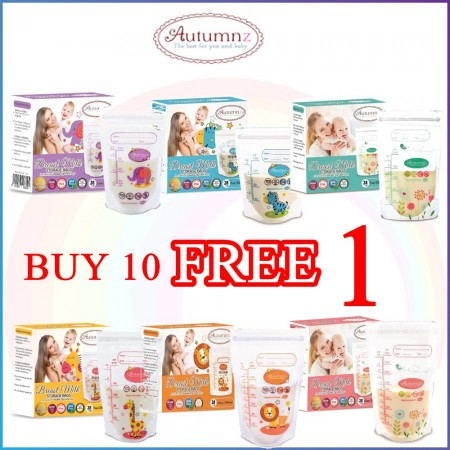 10 BOX FREE 1 BOX - Autumnz Double ZipLock Breastmilk Storage Bag/Bag Susu 5oz/7oz/10oz/12