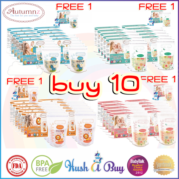 10 BOXES FREE EXTRA BOX Autumnz Double ZipLock Breastmilk Storage Bag / Bag Susu (28 Bags) 5oz / 7oz / 10oz / 12oz