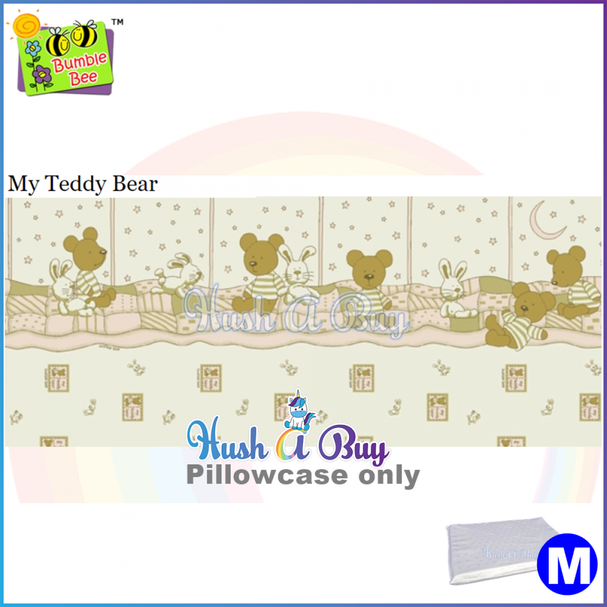 Bumblebee Pillowcase for Latex Pillow (Size M)