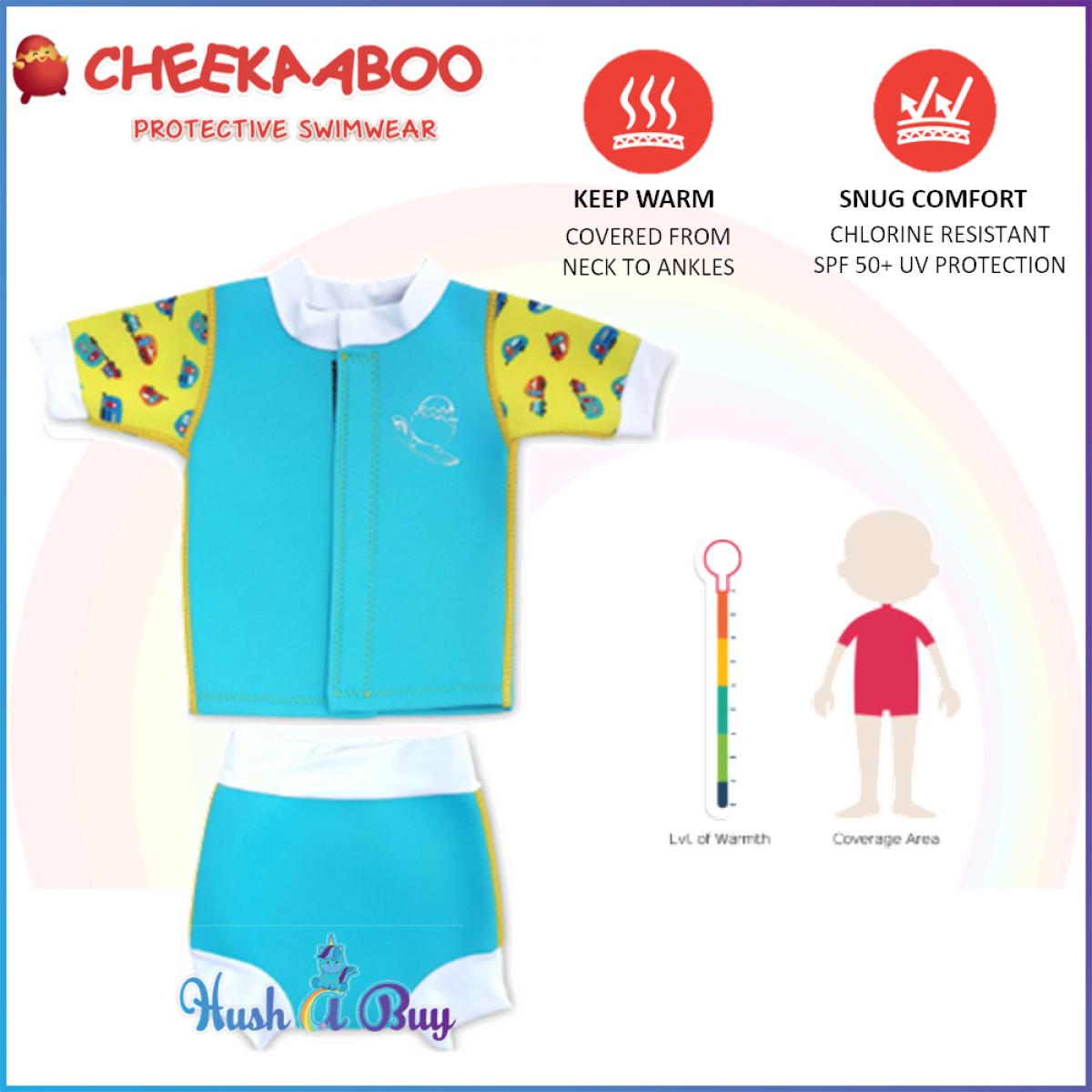 Cheekaaboo Huggiebabes Suit /Warmer/Swim Wear / 2 piece - Light Blue (Camper Van)