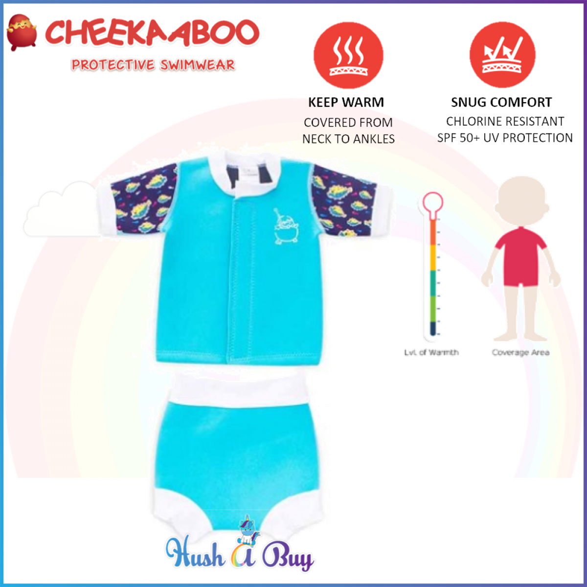 Cheekaaboo Huggiebabes Suit /Warmer/Swim Sui/2 piecet - Light Blue/PuferFish (6-18 months)