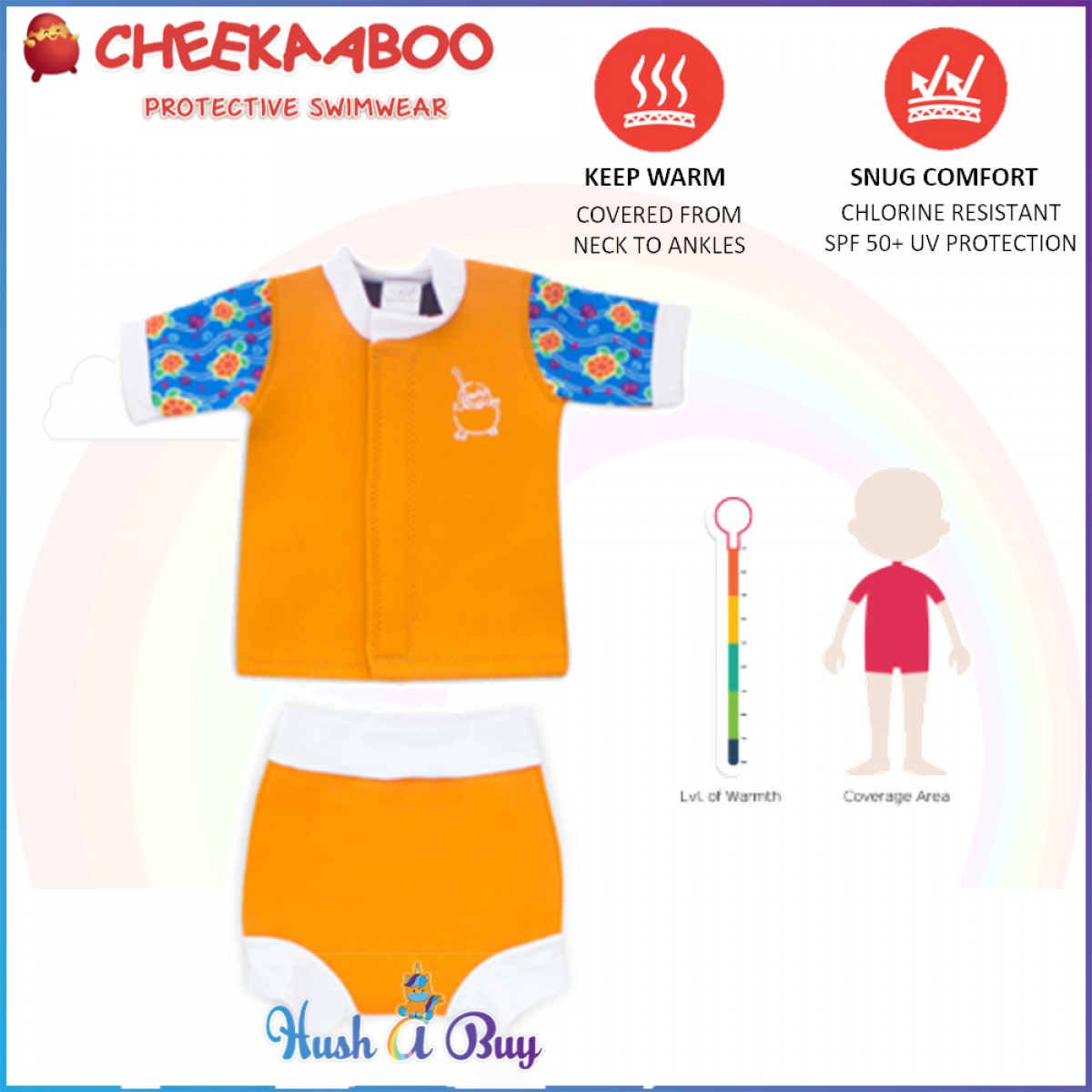 Cheekaaboo Huggiebabes Suit /Warmer/Swimming Suit/2 pieces- Orange (Sea Turtle) 6-30 months