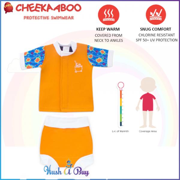 Cheekaaboo Huggiebabes Suit /Warmer/Swimming Suit/2 pieces- Orange (Sea Turtle) 6-30 months