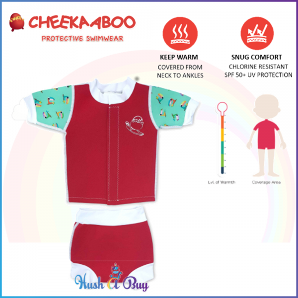 Cheekaaboo Huggiebabes Suit /Warmer/ Swimming Suit/2 pieces-Red(Toucan)