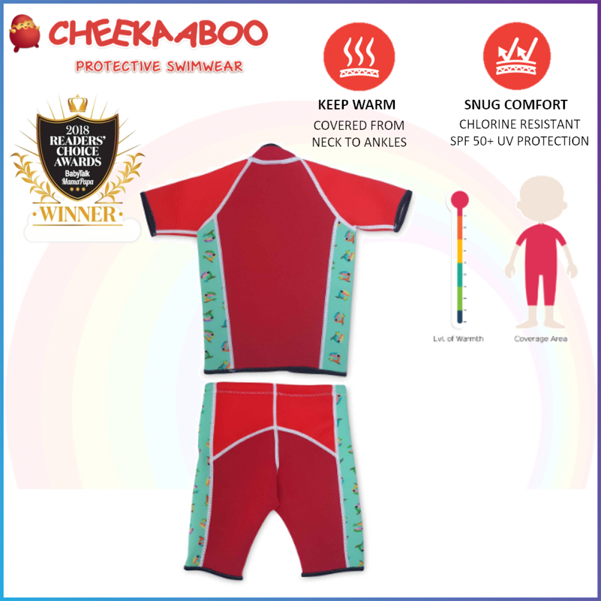 Cheekaaboo Twinwets / Warmer / Swiming Suit - Red (Toucan)