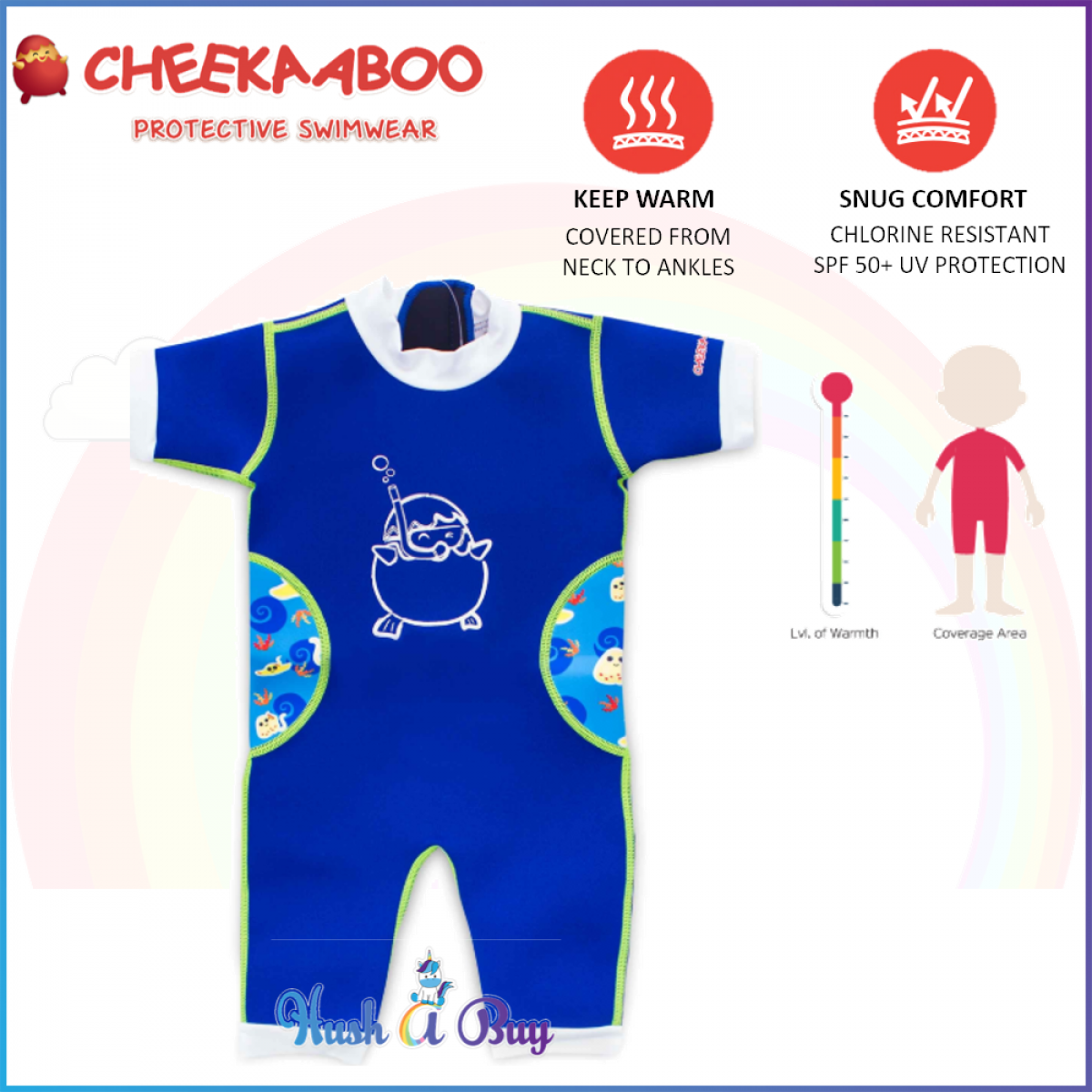 Cheekaaboo Warmiebabes Suit / Warmer / Swimming Suit - Navy Blue(Stingray)