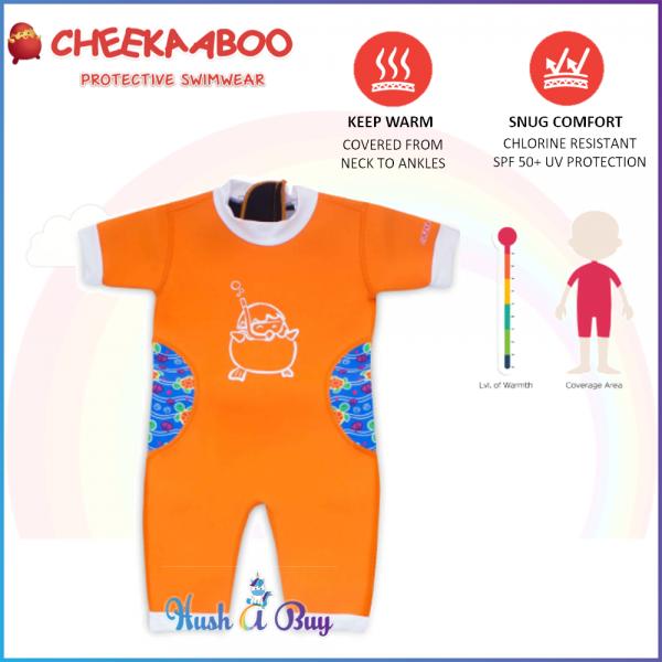 Cheekaaboo Warmiebabes Suit / Swimming Suit / Warmer / One Piece - Orange(Sea Turtle)