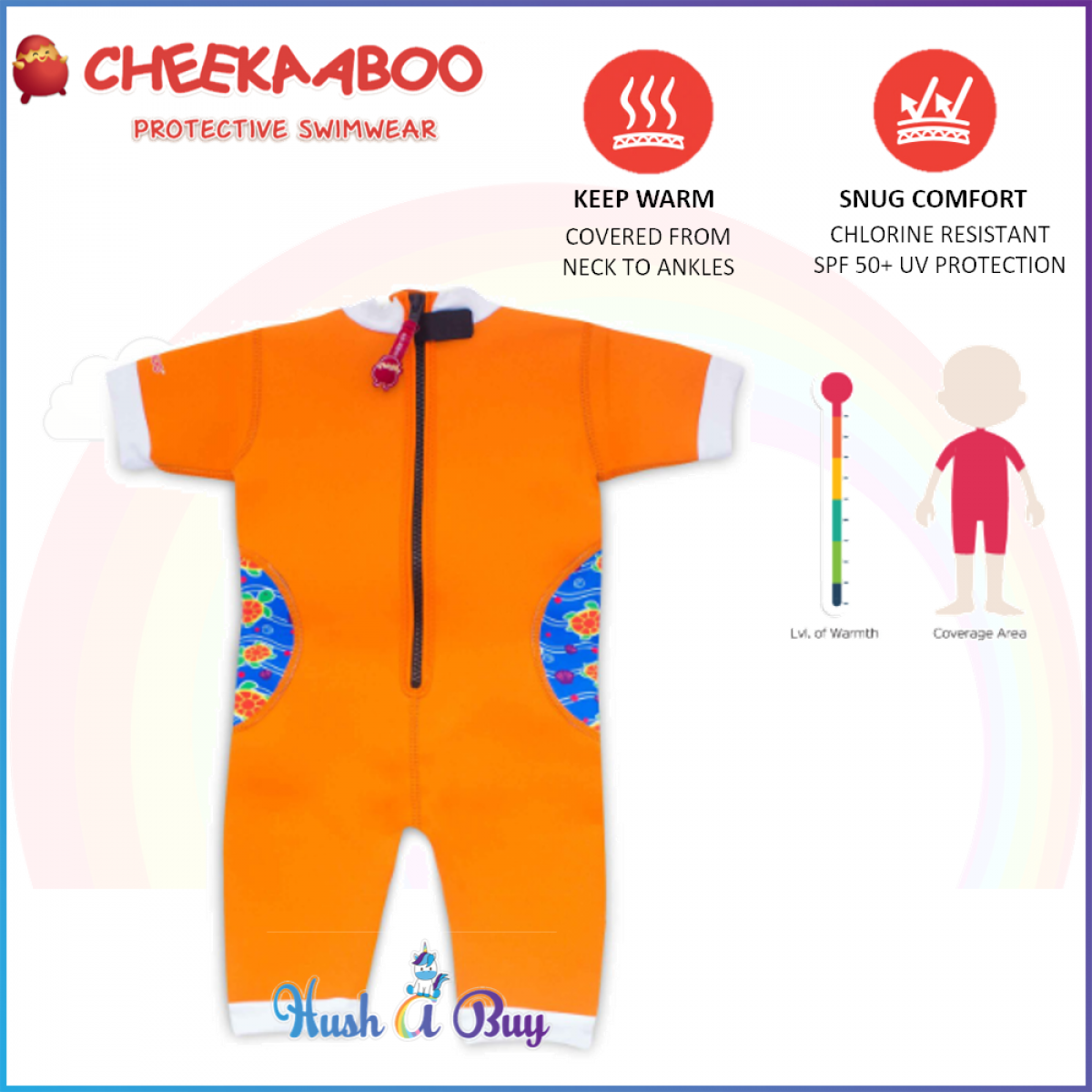 Cheekaaboo Warmiebabes Suit / Swimming Suit / Warmer / One Piece - Orange(Sea Turtle)