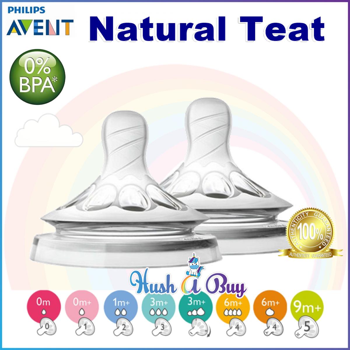 Philips Avent Natural Teats 2pcs / Buting / Nipple / 1m / 3M /6M / Variable Flow / Y Cut
