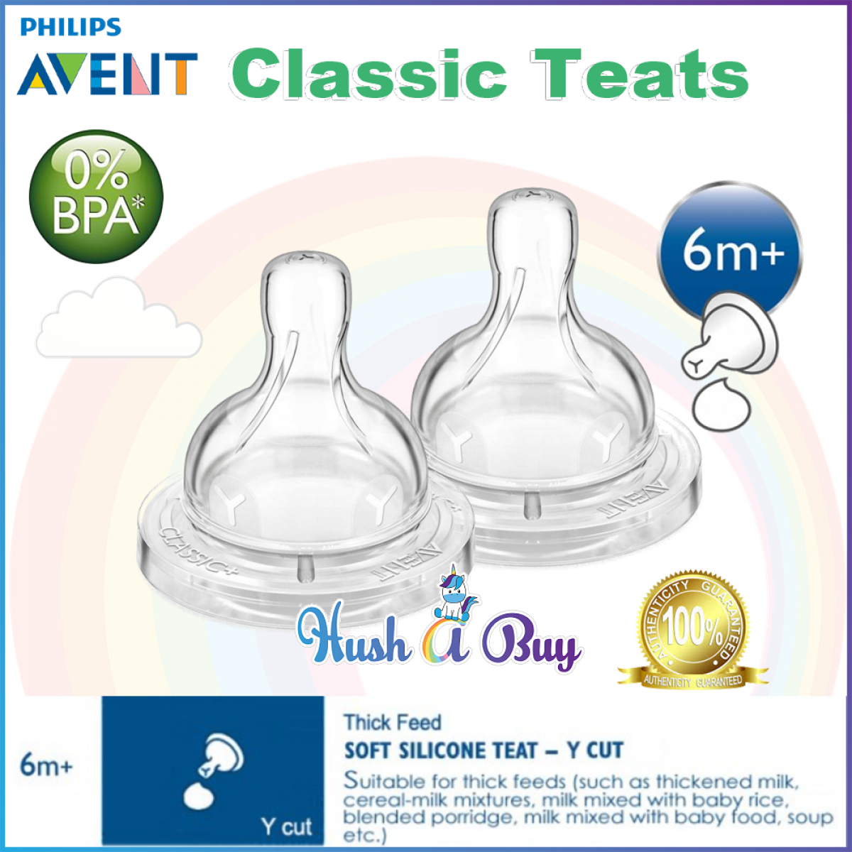 Philips Avent Classic Teats 2pcs / Buting / Nipple / 1M / 3M /6M / Variable Flow