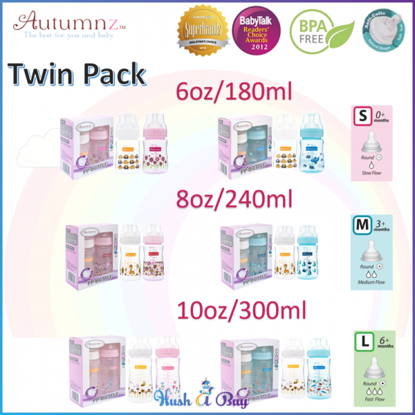 Autumnz PP Wide Neck Feeding Bottle Twin Pack 6oz/ 8oz/ 10oz