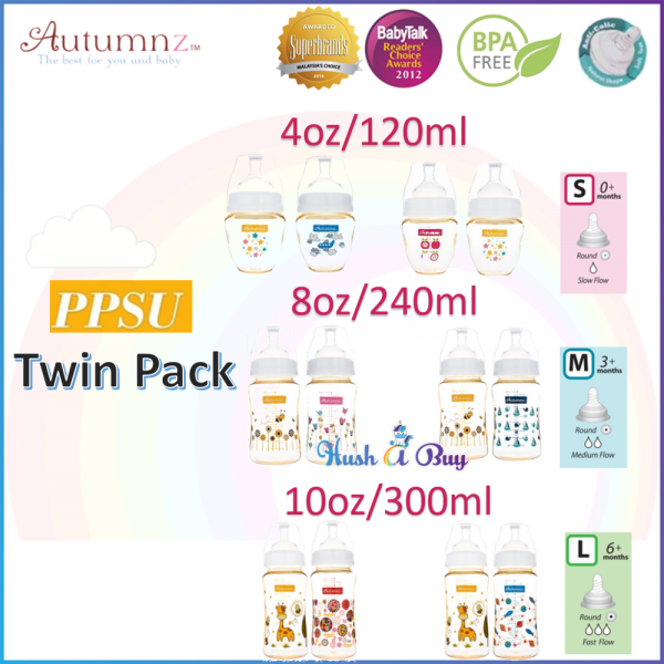 Autumnz PPSU Wide Neck Feeding Bottle Twin Pack 4oz/ 8oz/ 10oz