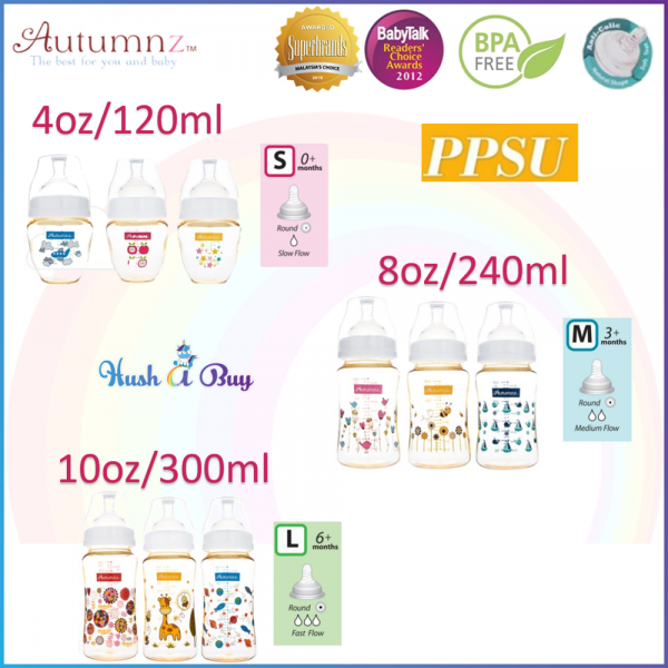 Autumnz PPSU Wide Neck Feeding Bottle 4oz/ 6oz / 8oz /10oz