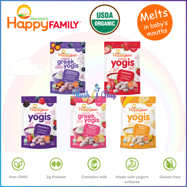 Happy Baby Organic Yogis/Greek Yogis/Yogis Snack - Strawberry Banana Blueberry Mango