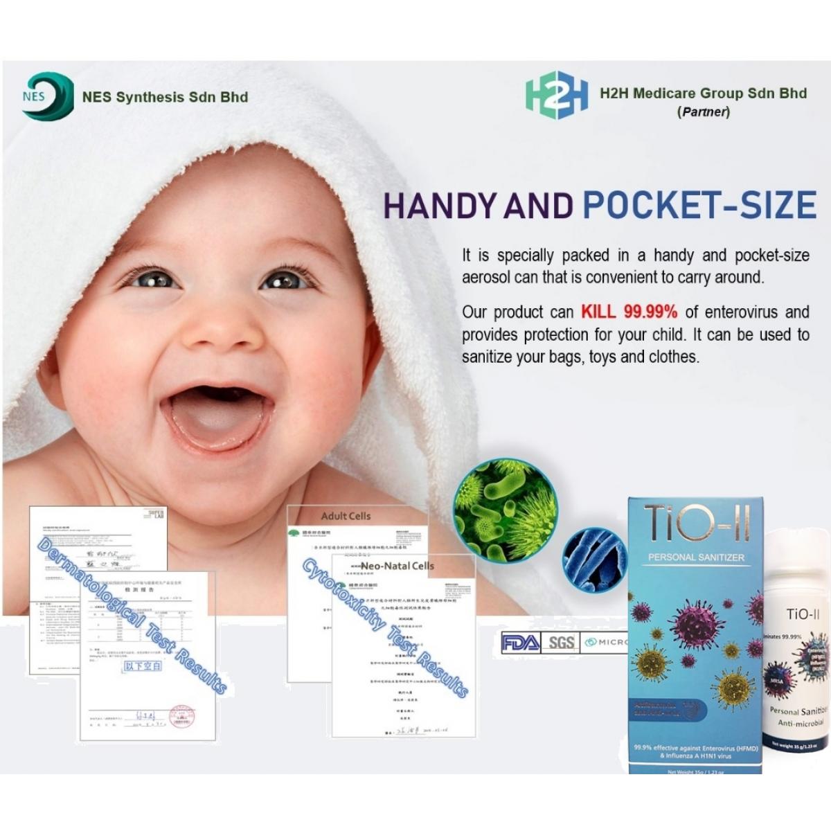 TiO-II Personal Steriliser Antibacterial Antivirus Aerosol Spray 35g - NEW