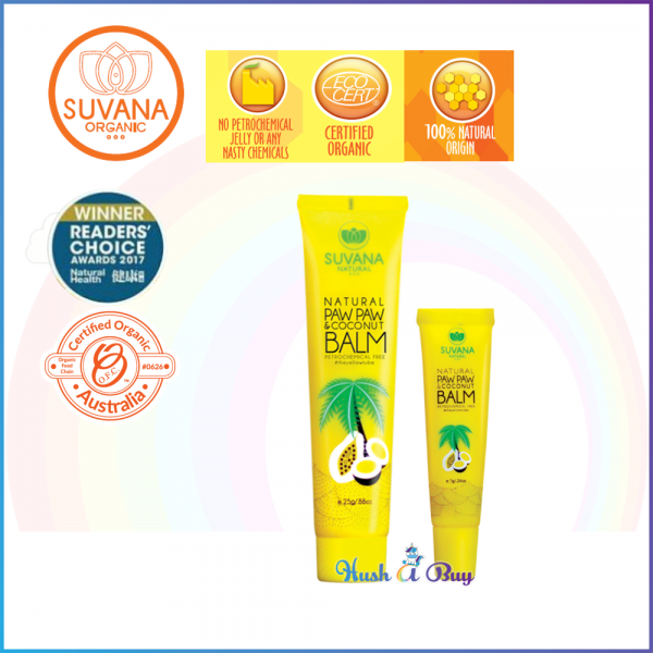 Suvana Organic Paw Paw & Coconut Balm for Cracked Lips/Nipples/Dry Skin 7g / 25g