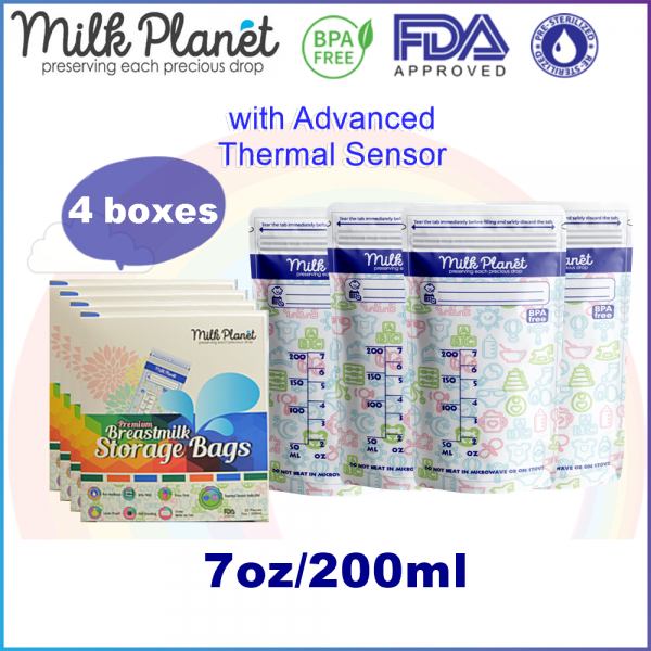 4 boxes - Milk Planet Premium Breast Milk Storage Bag/Beg Susu 3.5oz/5oz/7oz/12oz