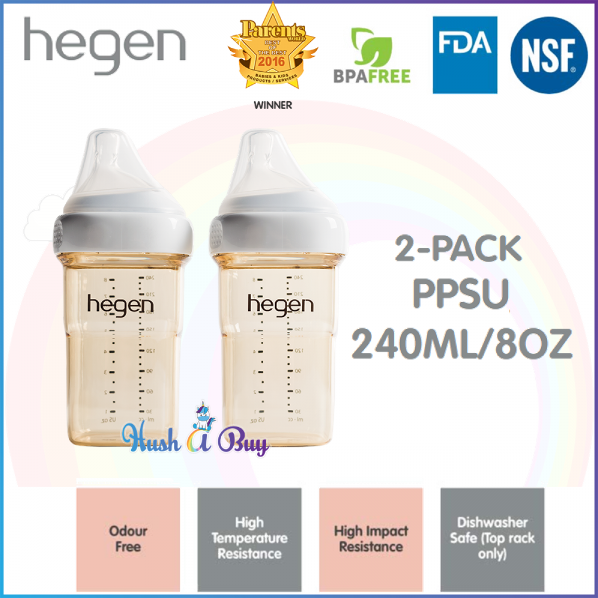 Hegen PCTO Feeding Bottle PPSU (2-pack) - 150ml/ 240ml/ 330ml