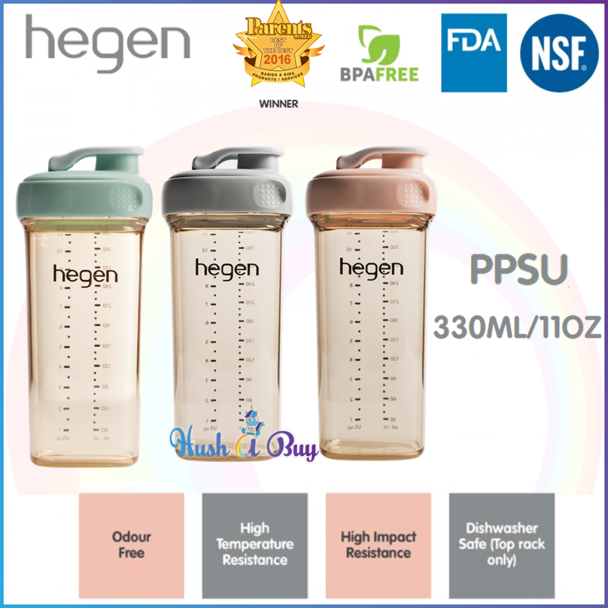 Hegen PCTO Drinking Bottle PPSU 330ml/11oz - Grey/ Pink/Green