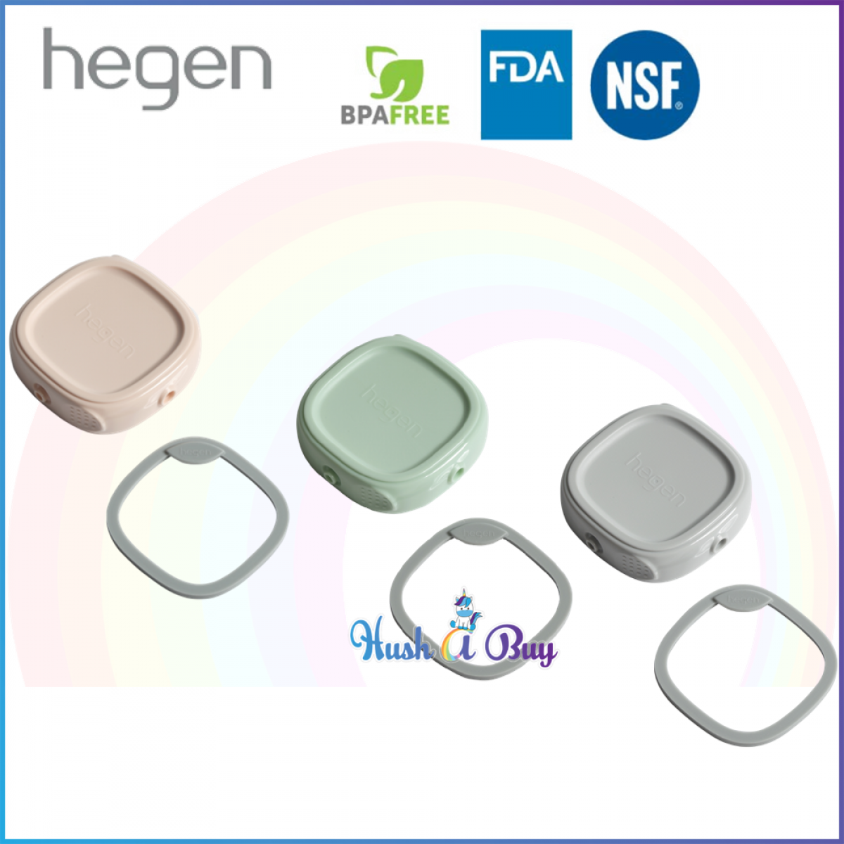 Hegen PCTO Breast Milk Storage Lid Single - Pink/ Grey/ Green