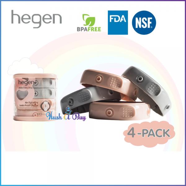 Hegen PCTO™ Breast Milk Storage Lids (4-pack) Pink & Grey