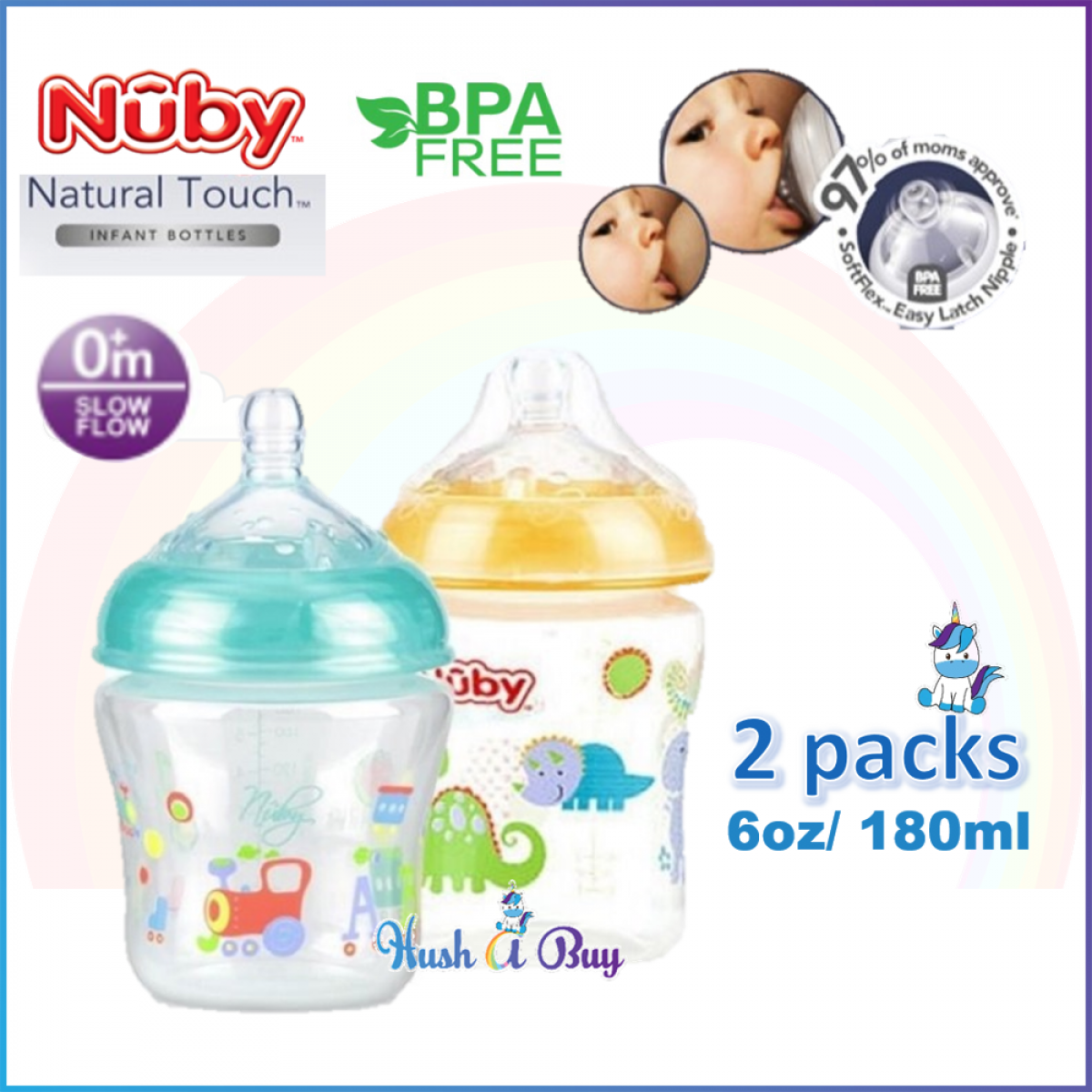 Nuby Natural Touch Printed Bottle W/Slow Flow 6oz/180ml (2 Bottle Pack)