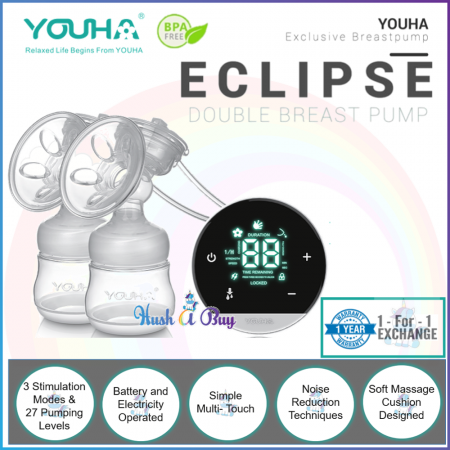 Youha Eclipse Double Breast Pump with 1 Year Warranty