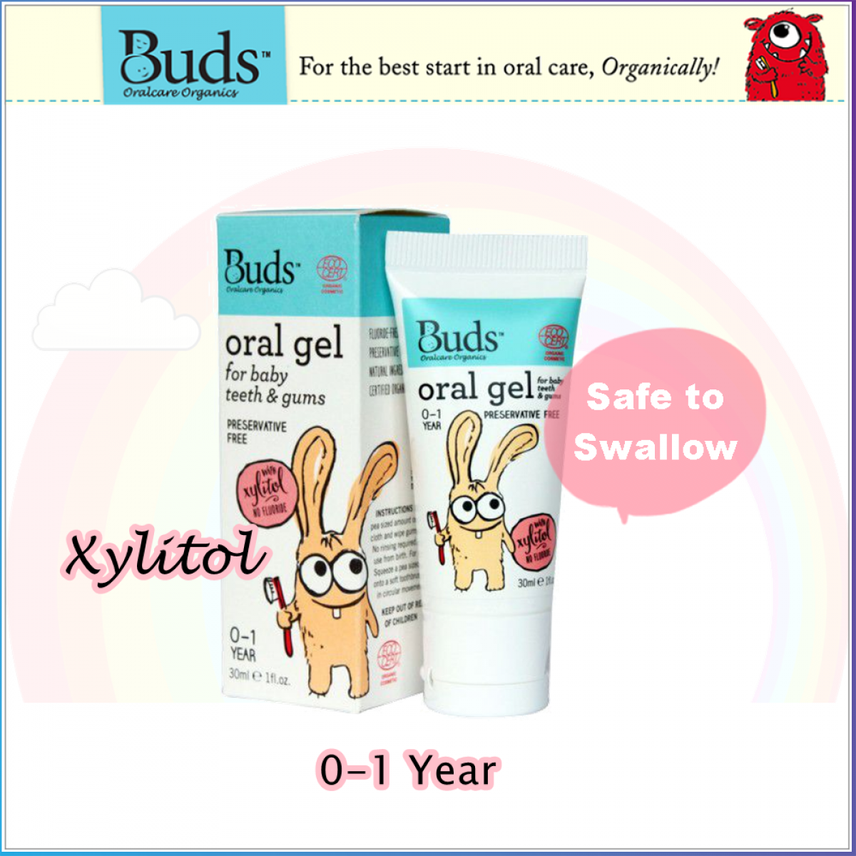 Buds Oral Gel for Baby Teeth & Gums with Xylitol 0-1 Year 30ml (Expiry: Feb 2020)
