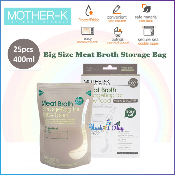 MOTHER K Meat Broth Storage Bag For Baby Food 400ml (25pcs)