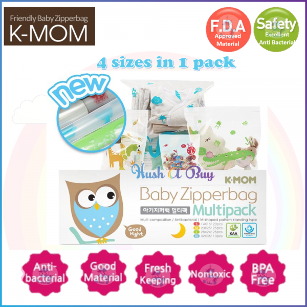 K-Mom Multipack Zipperbags 80pcs ( Mix of S- 20pcs , M-25pcs, L-25pcs, XL-10pcs)