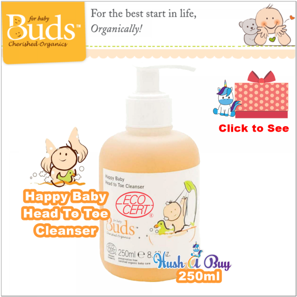 Buds BCO Happy Baby Head To Toe Cleanser 250ml - Certified Organic