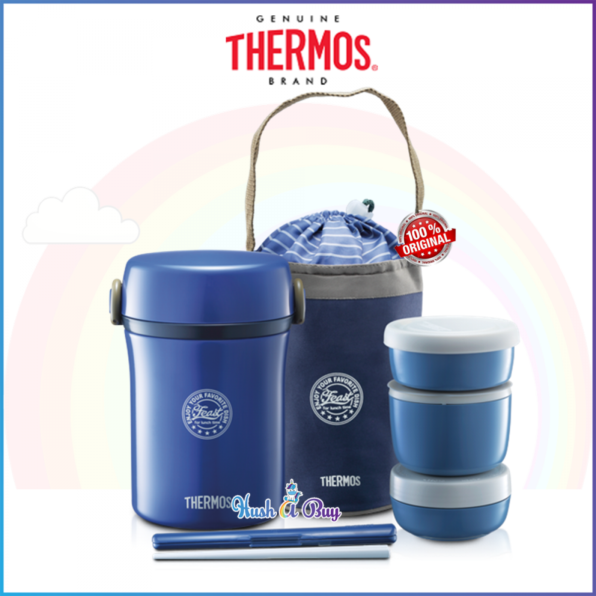 Thermos Stainless Thermal Lunch Jar 0.7L Navy w/Bag+Chopstic