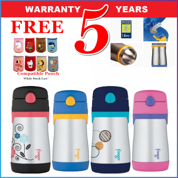 Thermos Vacuum Insulated Foogo Straw Bottle 290-295ml Blue, Pink, Red - FREE POUCH