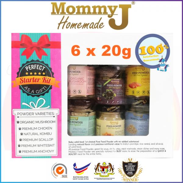 MommyJ Food Powder Starter Pack (6 Bottles) - Anchovy Whitebait Mushroom Chicken Kumbu Kelp Scallop