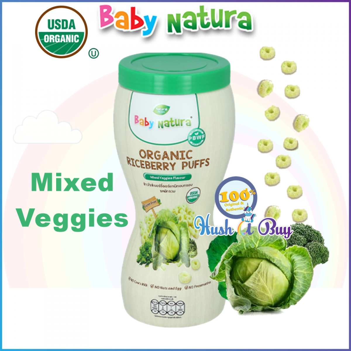 Baby Natura Organic Riceberry Puffs - Apple Carrot Pumpkin Veggies