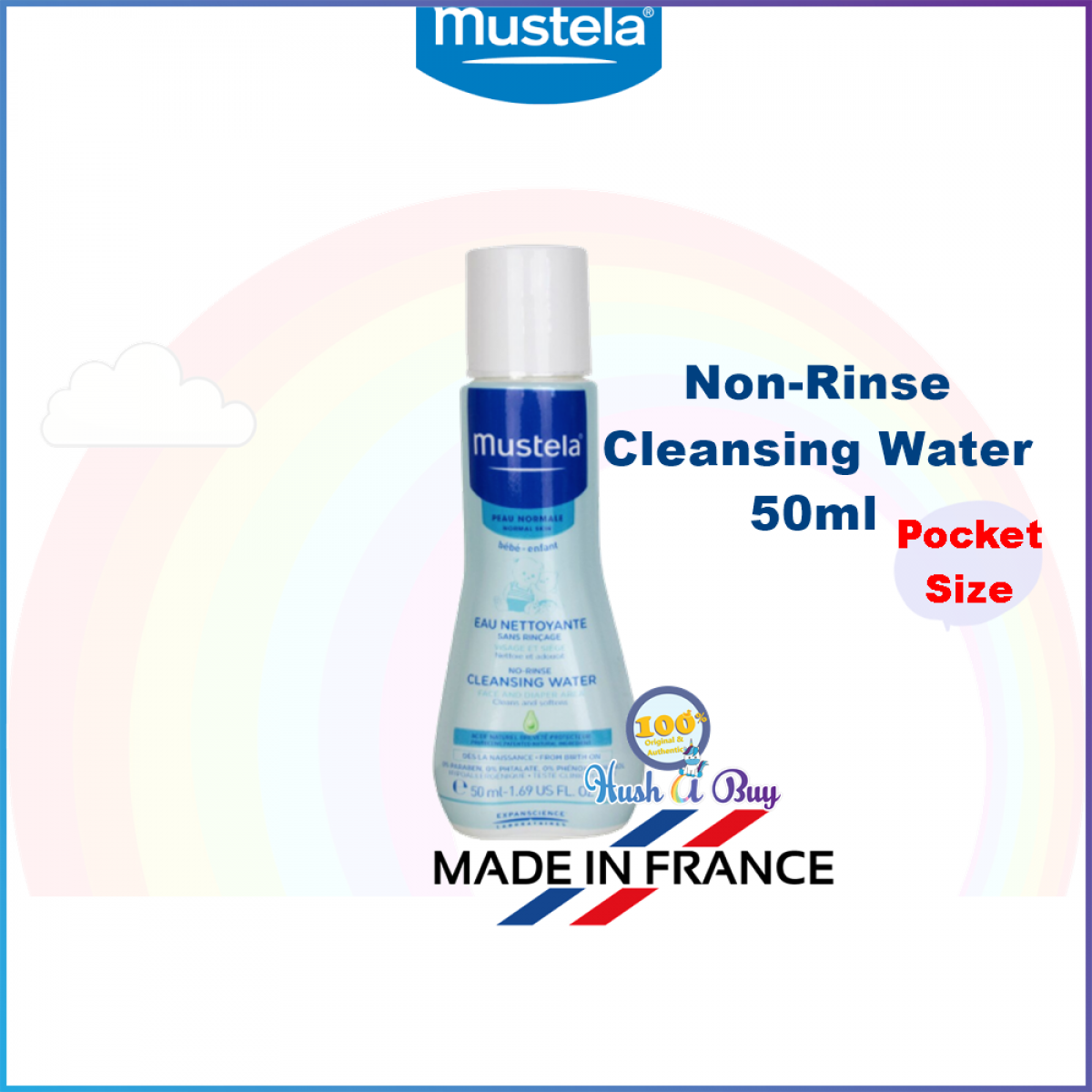 Mustela Limited Edition No-Rinse Cleansing Water for Baby 50ml - Pocket Size - Made in France