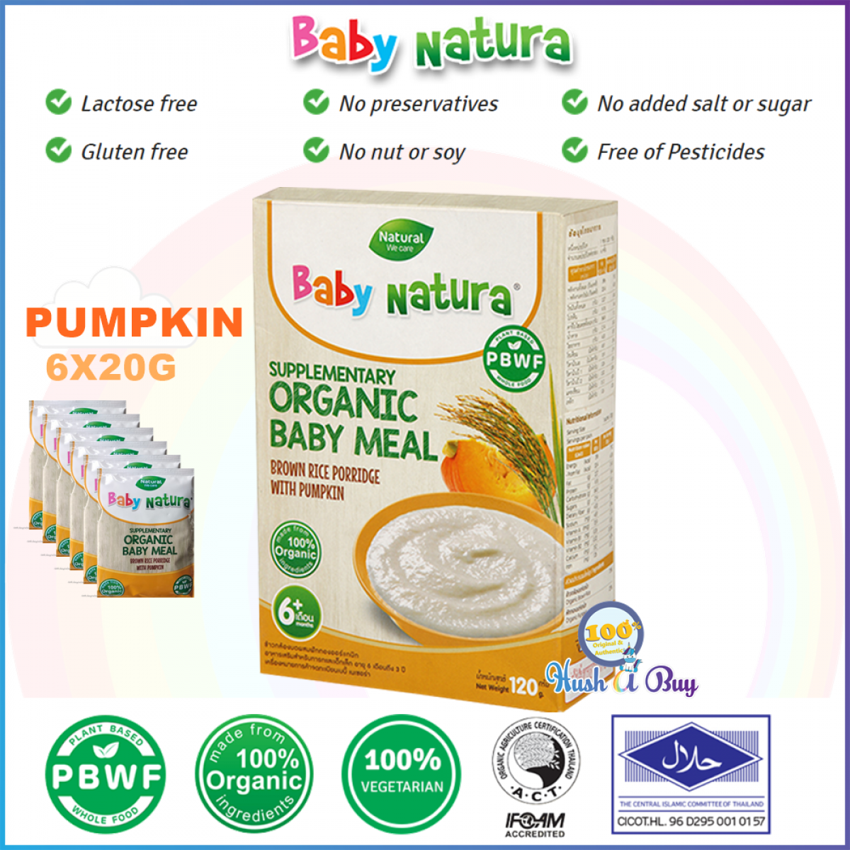 Baby Natura Organic Brown Rice Porridge Regular, Banana, Pumpkin, Carrot - 6 Sachet - Best for Travel - Halal