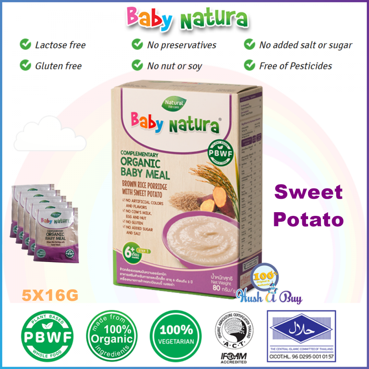 Baby Natura Brown Rice Porridge Sweet Potato  Pumpkin Morning Glory Quinoa - 5 Sachet - Best for Travel - Halal