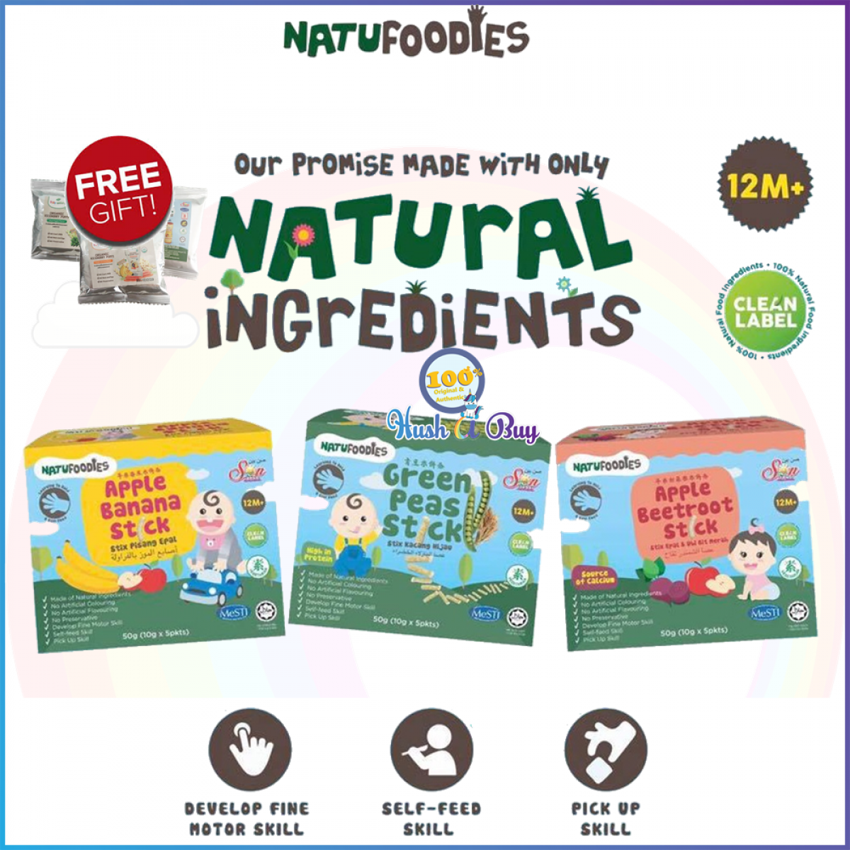 3 BOXES - Natufoodies Healthy Snacks Sticks - Halal - For 12m and above