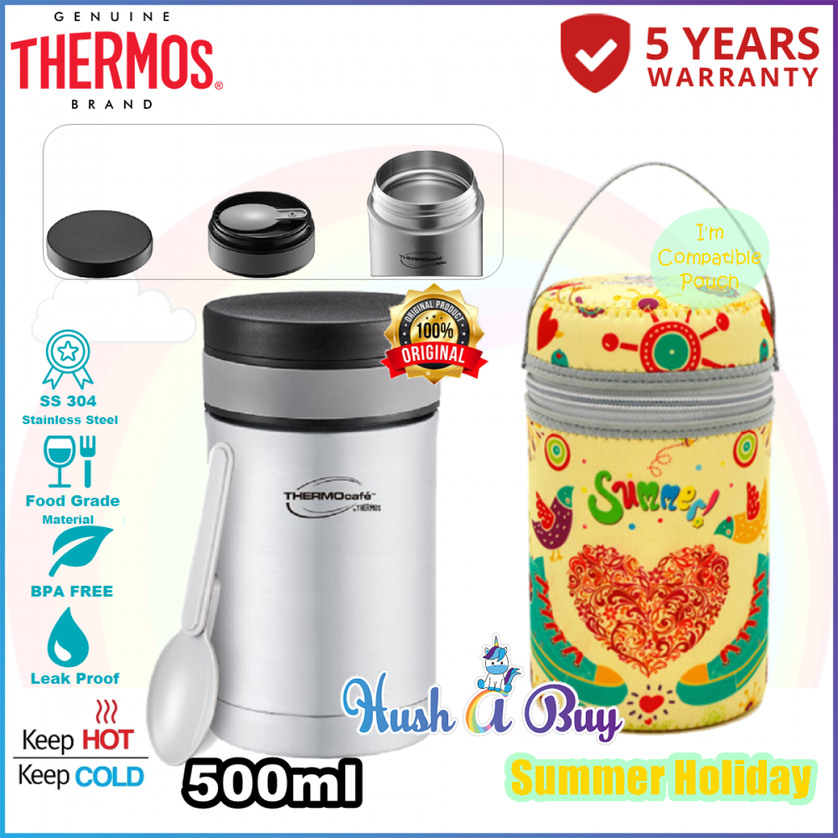 Thermos Thermocafe Basic Living Food Jar With PP Spoon 500ml with COMPATIBLE POUCH