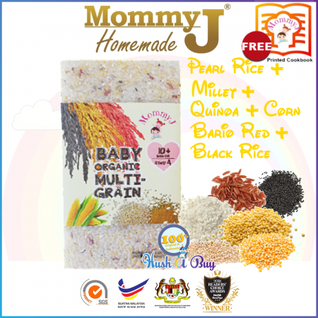MommyJ Organically Grown Multi-Grain (Rice & Millet & Quinoa & Cornmeal & Bario Red Rice & Black Rice) 900g 6m+ FREE PRINTED COOKBOOK FROM MOMMYJ