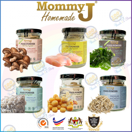 MommyJ Food Powder Starter Pack 20g - Anchovy Whitebait Mushroom Chicken Kumbu Kelp Scallop