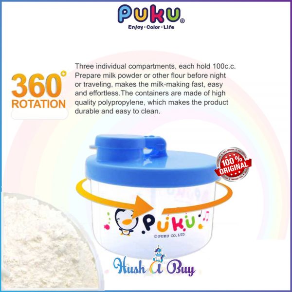 PUKU Milk Powder Container (3 compartments)  - Blue