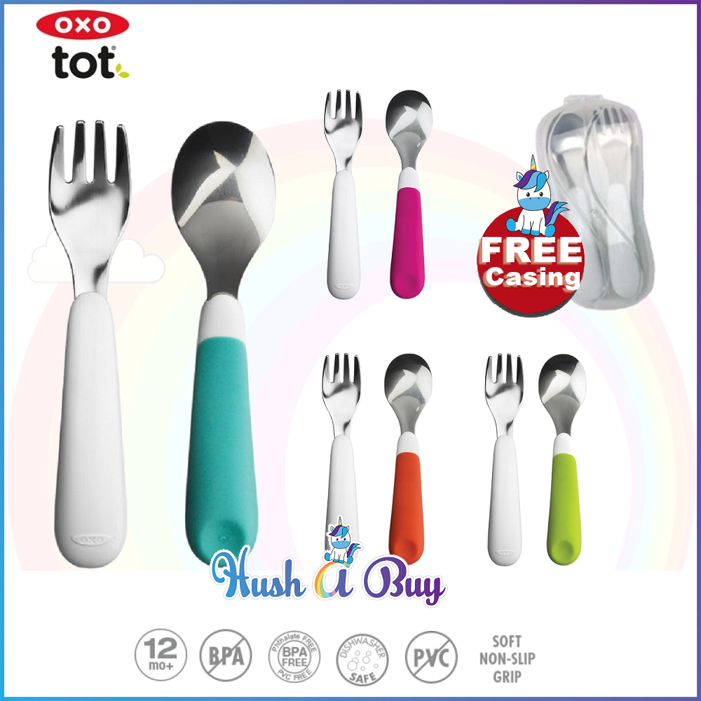 OXO TOT Stainless Steel Fork And Spoon Set FREE Cover