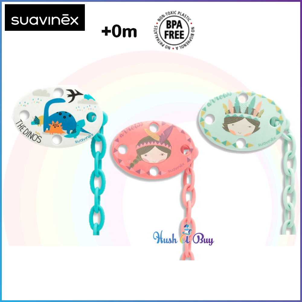 Suavinex Oval Soother Clip The Dinos and Indiana Girl