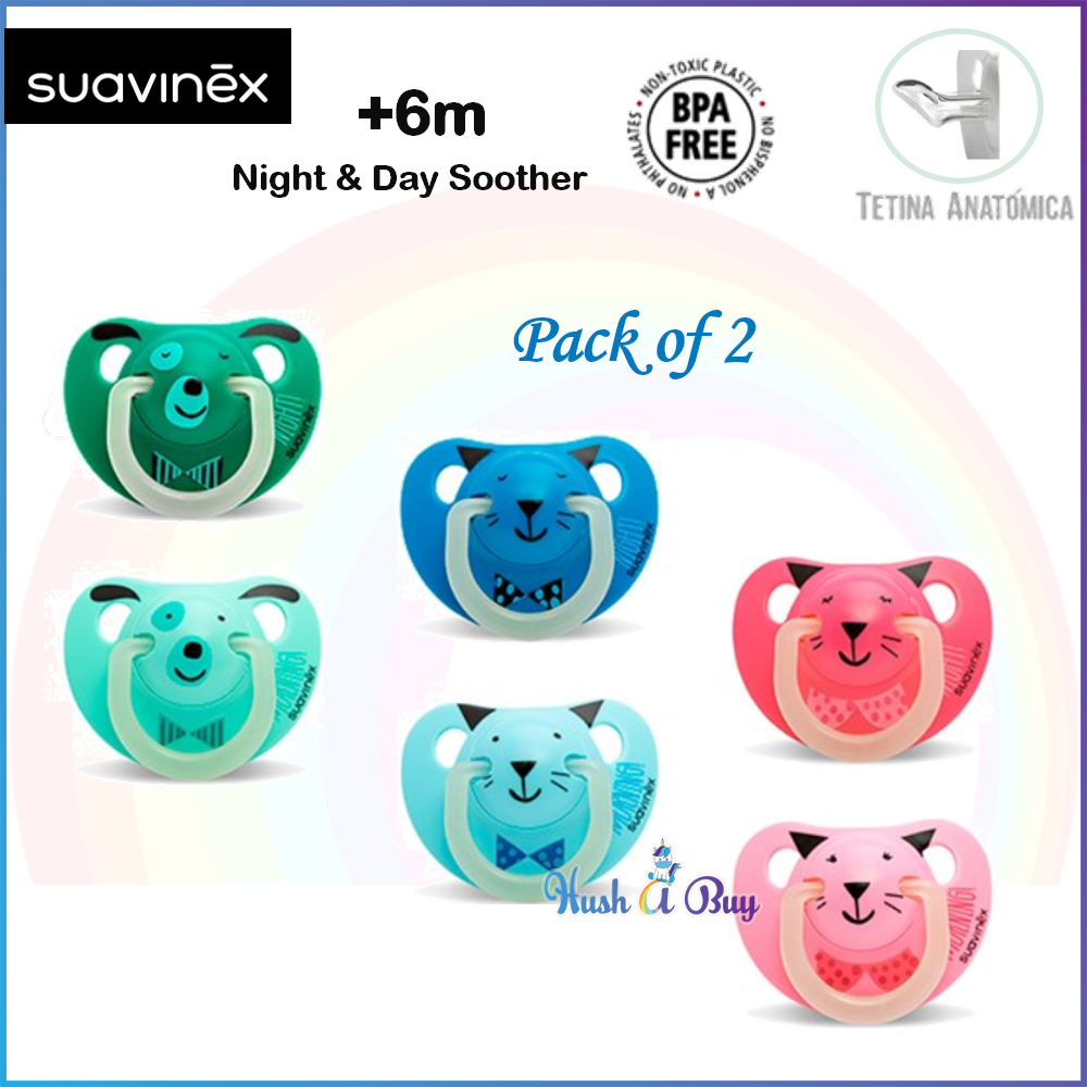 Suavinex Night & Day Soother / Pacifier / Puting +6months Pack of 2