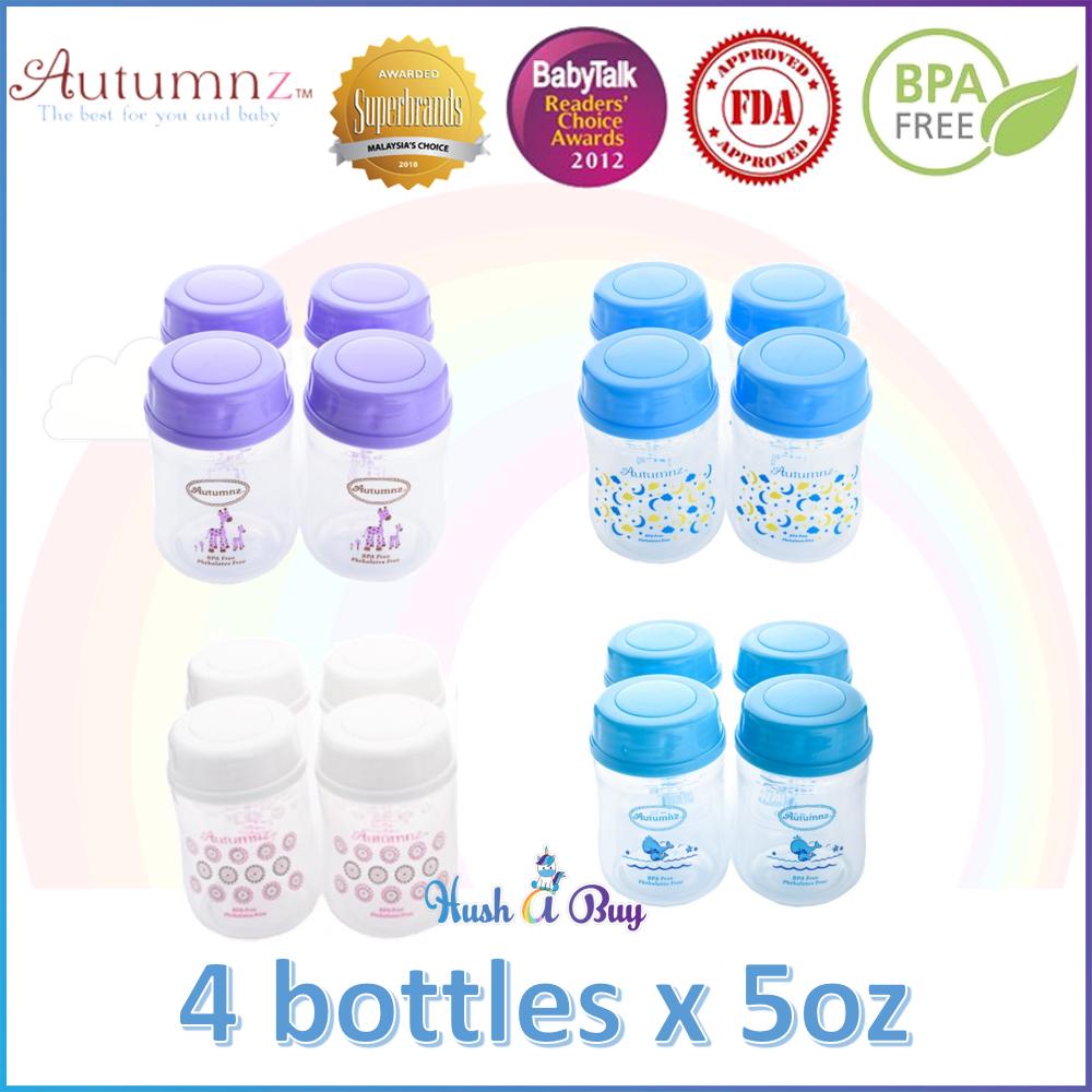 Autumnz Wide Neck Breastmilk Storage Bottles 4 bottles 5oz
