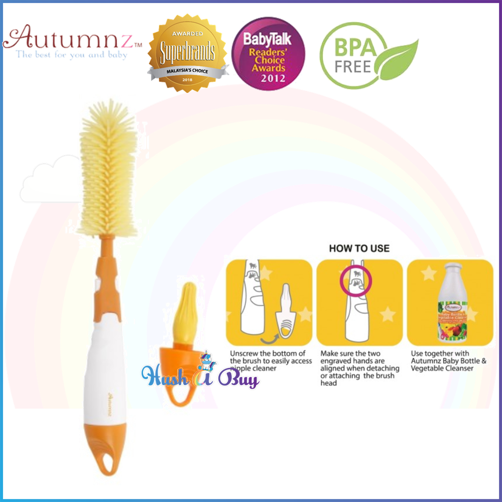 Autumnz Deluxe 2-in-1 Soft Silicone Bottle Brush